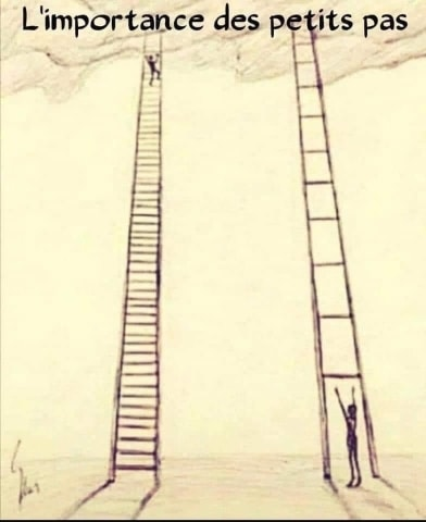 Zwei Leitern mit weiten und nahen Sprossen.