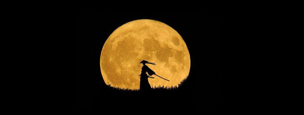 Samurai vor dem aufgehenden Mond